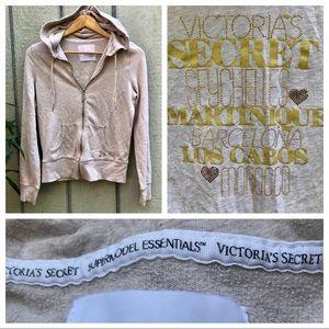 Victoria's gold glitter & rhinestone zip hoodie